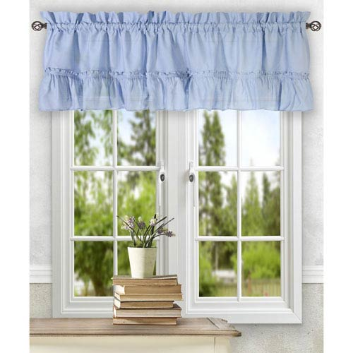 Ellis Curtain Stacey Slate 54 x 13-Inch Ruffled Filler Valance