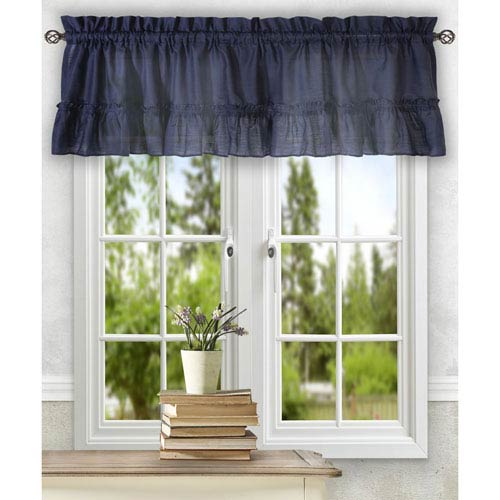 Ellis Curtain Stacey Navy 54 x 13-Inch Ruffled Filler Valance