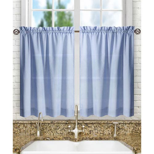 Ellis Curtain Stacey Slate 56 x 36-Inch Tailored Tier Pair Curtains