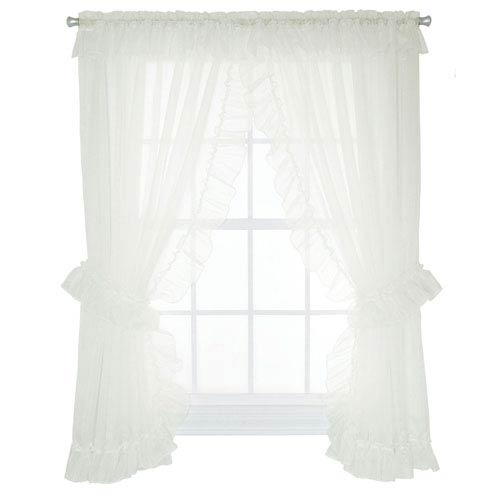 Ellis Curtain Jessica Sheer 190 x 84-Inch Ruffled Priscilla Pair Curtains with Ties