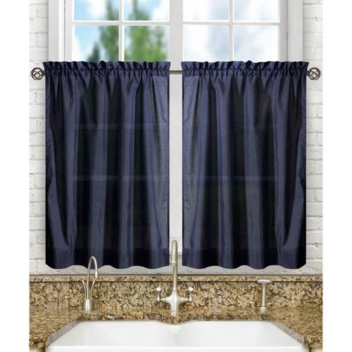 Ellis Curtain Stacey Navy 56 x 30-Inch Tailored Tier Pair Curtains