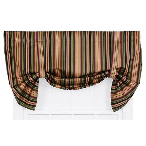 Ellis Curtain Mateo Black 50 x 30-Inch Lined Tie-Up Valance
