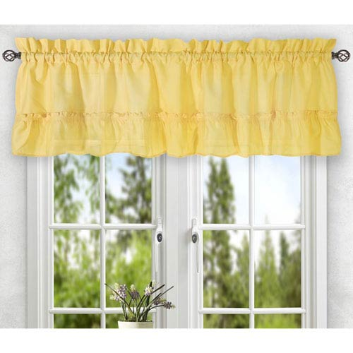 Ellis Curtain Stacey Yellow 56 x 36-Inch Tailored Tier Pair Curtains