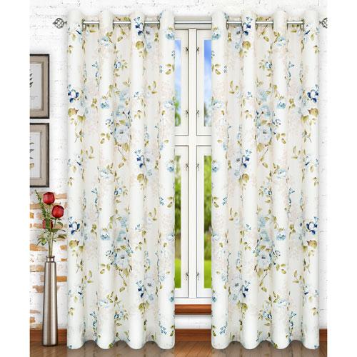 Ellis Curtain Chatsworth Blue 50 x 84 Inch Lined Grommet Panel