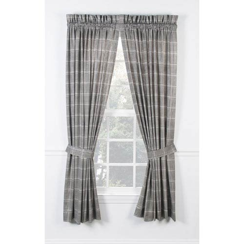 Morrison Black 90 x 63-Inch Tailored Pair Curtains with Ties