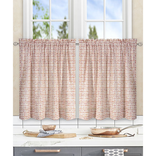 Ellis Curtain Davins Clay 56 x 36 Inch Tailored Tier Curtains