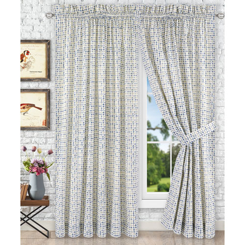 Ellis Curtain Davins Blue 90 x 63 Inch Tailored Pair Curtains with Ties