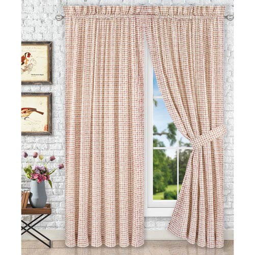 Ellis Curtain Davins Clay 90 X 63 Inch Tailored Pair Curtains With Ties