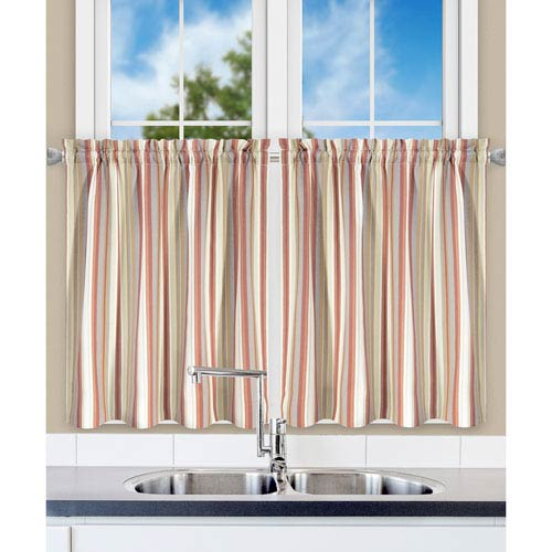Ellis Curtain Mason Stripe Clay 56 X 24 Inch Tailored Tiers