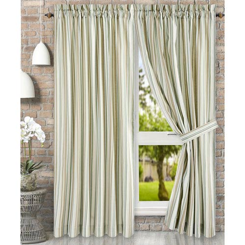 Ellis Curtain Mason Stripe Spa 90 X 63 Inch Tailored Pair Curtains With Ties