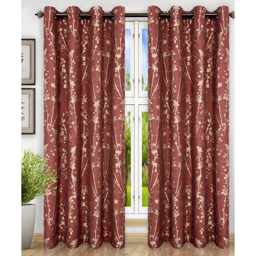 Meadow Cardinal 50 x 84 Inch Lined Grommet Top Panel