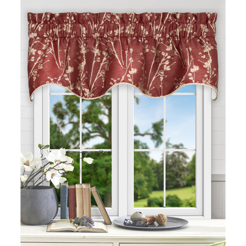 Meadow Cardinal 50 x 15 Inch Lined Scallop Valance