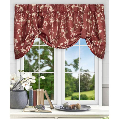 Meadow Cardinal 50 x 22 Inch Lined Tie-up Valance