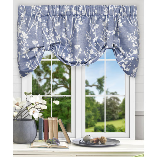Meadow Cobalt 50 x 22 Inch Lined Tie-up Valance