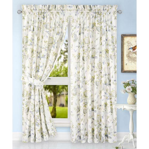 Ellis Curtain Abigail Porcelain 90 X 63 Inch Tailored Pair Curtains With Ties