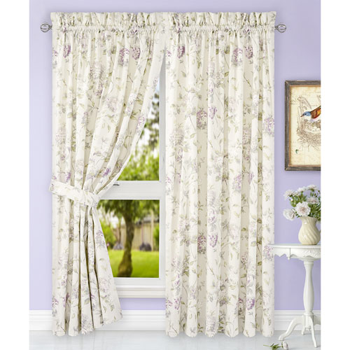 Abigail Lilac 90 x 84 Inch Tailored Pair Curtains with Ties