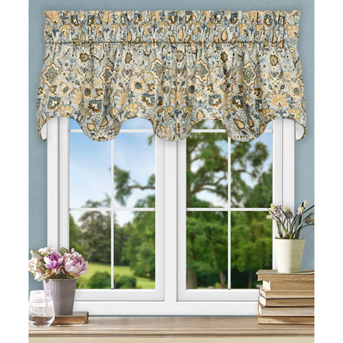 Adelle Nile 70 x 17 Inch Lined Scallop Valance