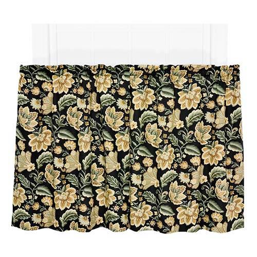 Ellis Curtain Valerie Black 68 x 36-Inch Tailored Tier Curtain Pair