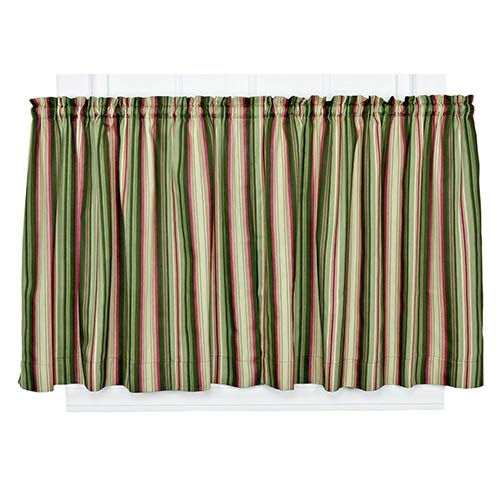 Ellis Curtain Montego Stripe Green 82 x 24-Inch Tailored Tier Drapery Panel Pair