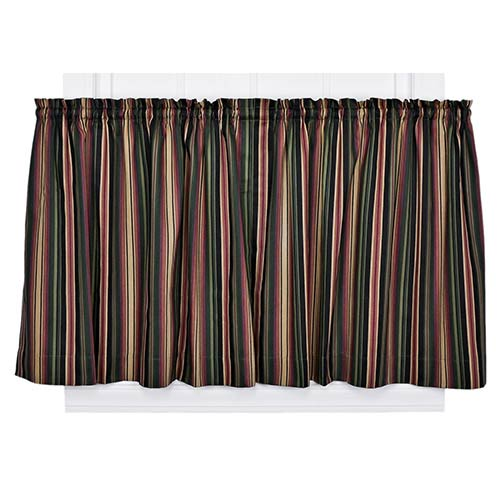 Ellis Curtain Montego Stripe Black 82 x 24-Inch Tailored Tier Drapery Panel Pair