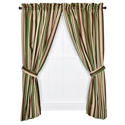 Montego Stripe Green 63 x 82-Inch Panel Pair with Tiebacks