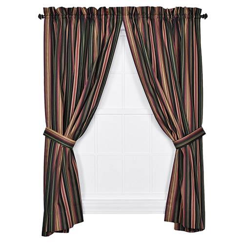 Ellis Curtain Montego Stripe Black 63 x 82-Inch Panel Pair with Tiebacks