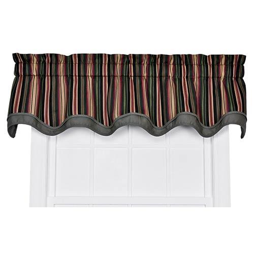 Ellis Curtain Montego Stripe Black 70 x 15-Inch Bradford Window Valance