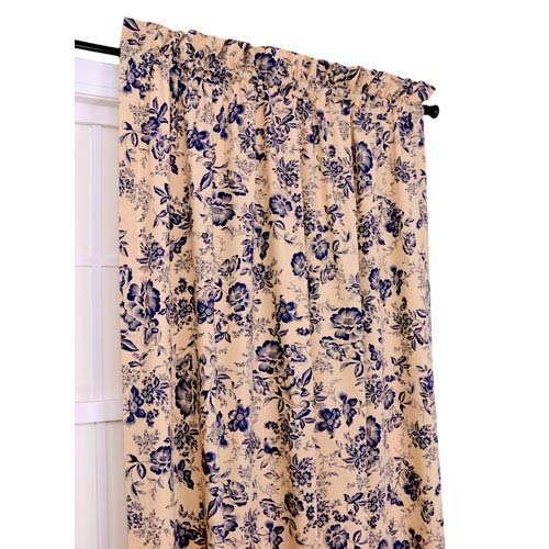 Palmer Navy Floral Toile 50-Inch-by-84-Inch Tailored Panel