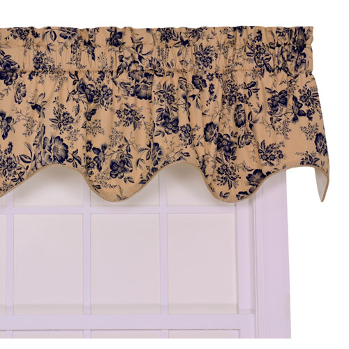 Palmer Navy Floral Toile Lined Duchess Filler Valance Window Curtain