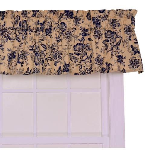 Ellis Curtain Palmer Navy Floral Toile Tailored Valance Window Curtain