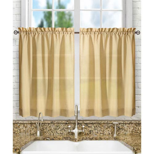 Ellis Curtain Stacey Almond 56 x 24-Inch Tailored Tier Pair Curtains
