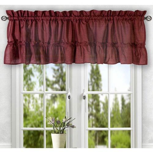 Ellis Curtain Stacey Merlot 56 x 24-Inch Tailored Tier Pair Curtains