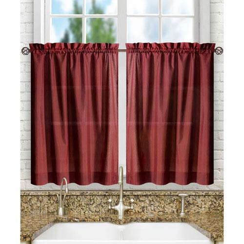 Ellis Curtain Stacey Merlot 56 x 45-Inch Tailored Tier Pair Curtains