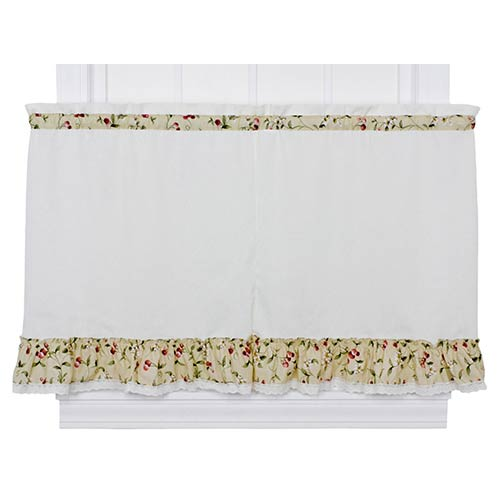 Ellis Curtain Cherries Natural 58 x 36-Inch Ruffled Tailored Tier Curtain Pair