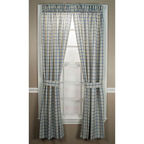 Bristol Two-Tone Plaid 68 x 72-Inch Tailored Panel Pair Curtains With Tiebacks