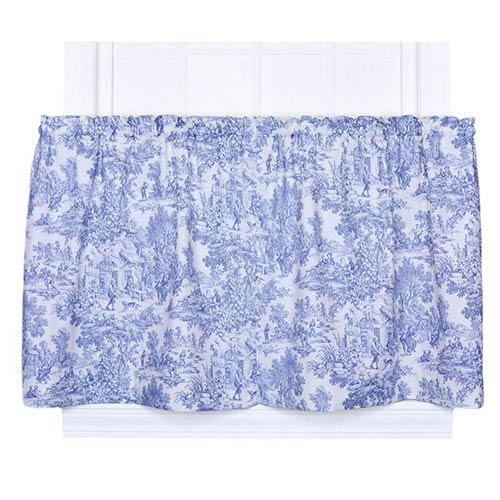 Ellis Curtain Victoria Park Blue 68 x 36-Inch Tailored Tier Curtain Pair