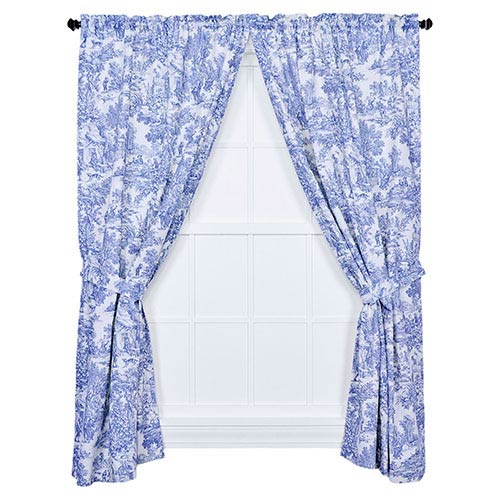 Victoria Park Blue 68 x 84-Inch Tailored Curtain Pair with Tiebacks