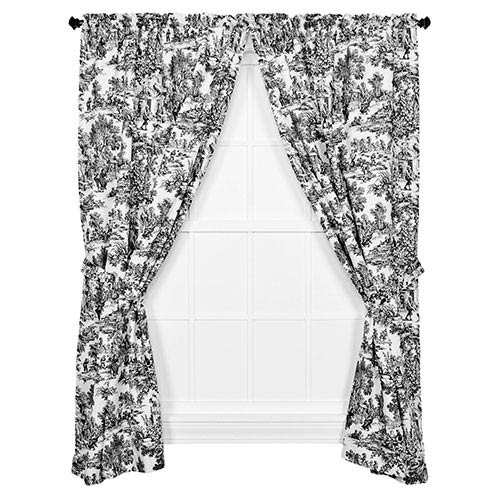 Victoria Park Black 68 x 84-Inch Tailored Curtain Pair with Tiebacks