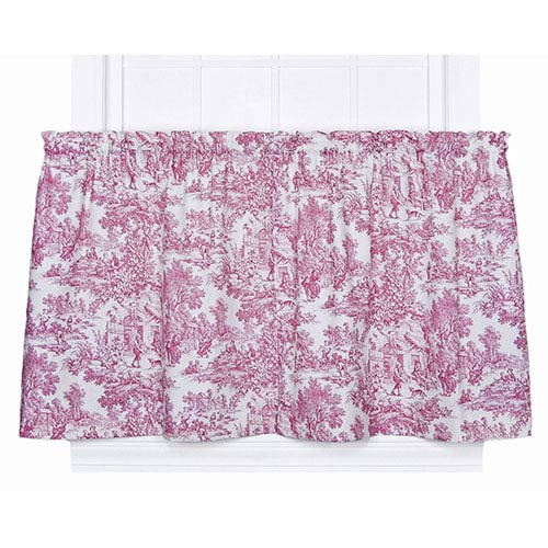 Ellis Curtain Victoria Park Red 68 x 24-Inch Tailored Tier Curtain Pair