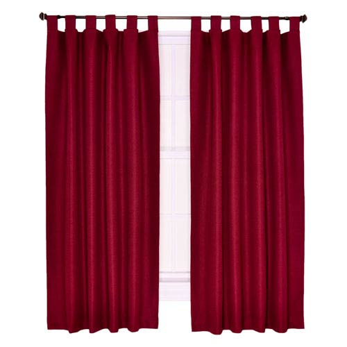 Ellis Curtain Crosby Bordeaux Thermal Insulated 80-by-54 inch Tab Top Foamback Curtains