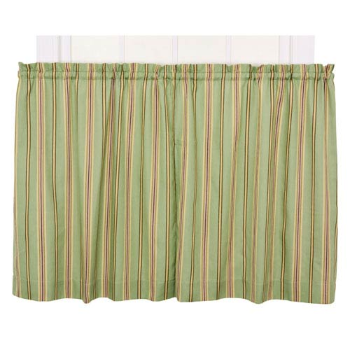 Ellis Curtain Warwick Green Medium Scale Stripe 68-by-30 Inch Tailored Tier Pair Curtains