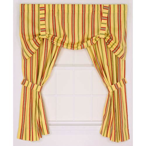 Warwick Yellow Medium Scale Stripe 68-by-54 Inch Tailored Panel Pair Curtains With Tiebacks