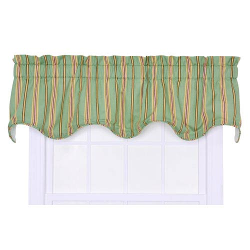 Warwick Green Medium Scale Stripe Lined Scallop Valance
