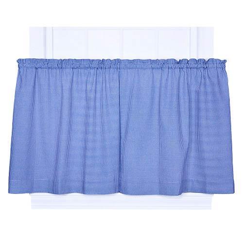 Ellis Curtain Logan Check Blue 68 x 24-Inch Tailored Tier Curtain Pair
