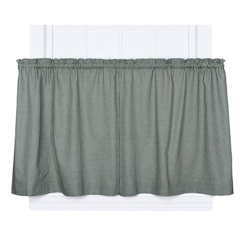Ellis Curtain Logan Check Green 68 x 24-Inch Tailored Tier Curtain Pair