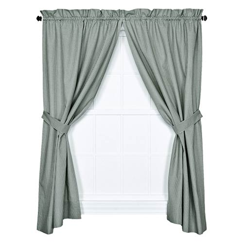 Logan Check Green 68 x 63-Inch Curtain Pair with Tiebacks