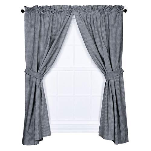 Ellis Curtain Logan Check Black 68 x 63-Inch Curtain Pair with Tiebacks