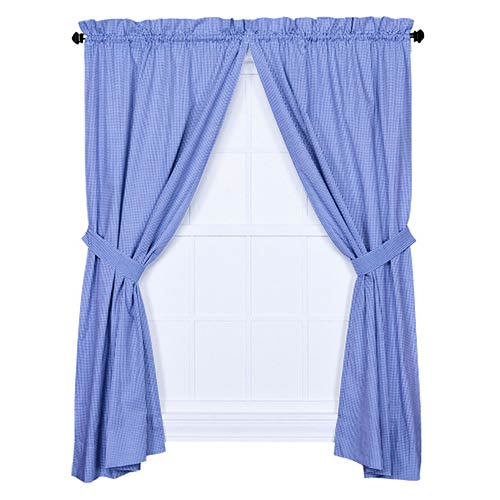 Ellis Curtain Logan Check Blue 68 x 84-Inch Curtain Pair with Tiebacks