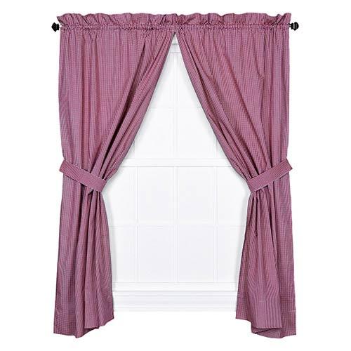Ellis Curtain Logan Check Red 68 x 84-Inch Curtain Pair with Tiebacks