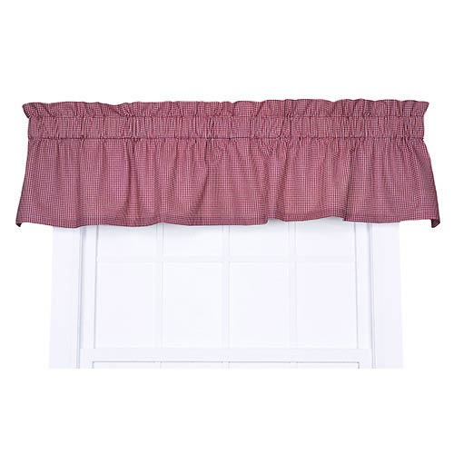 Ellis Curtain Logan Check Red 70 x 12-Inch Tailored Valance